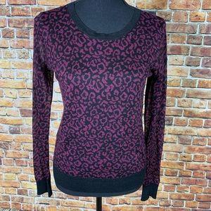 LOFT Purple & Black Cheetah Print Top Sz XS